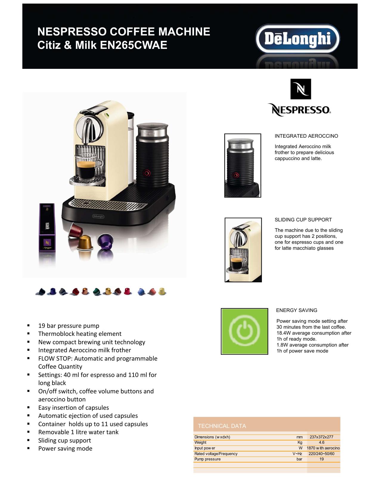 NESPRESSO COFFEE MACHINE Citiz & | manualzz com