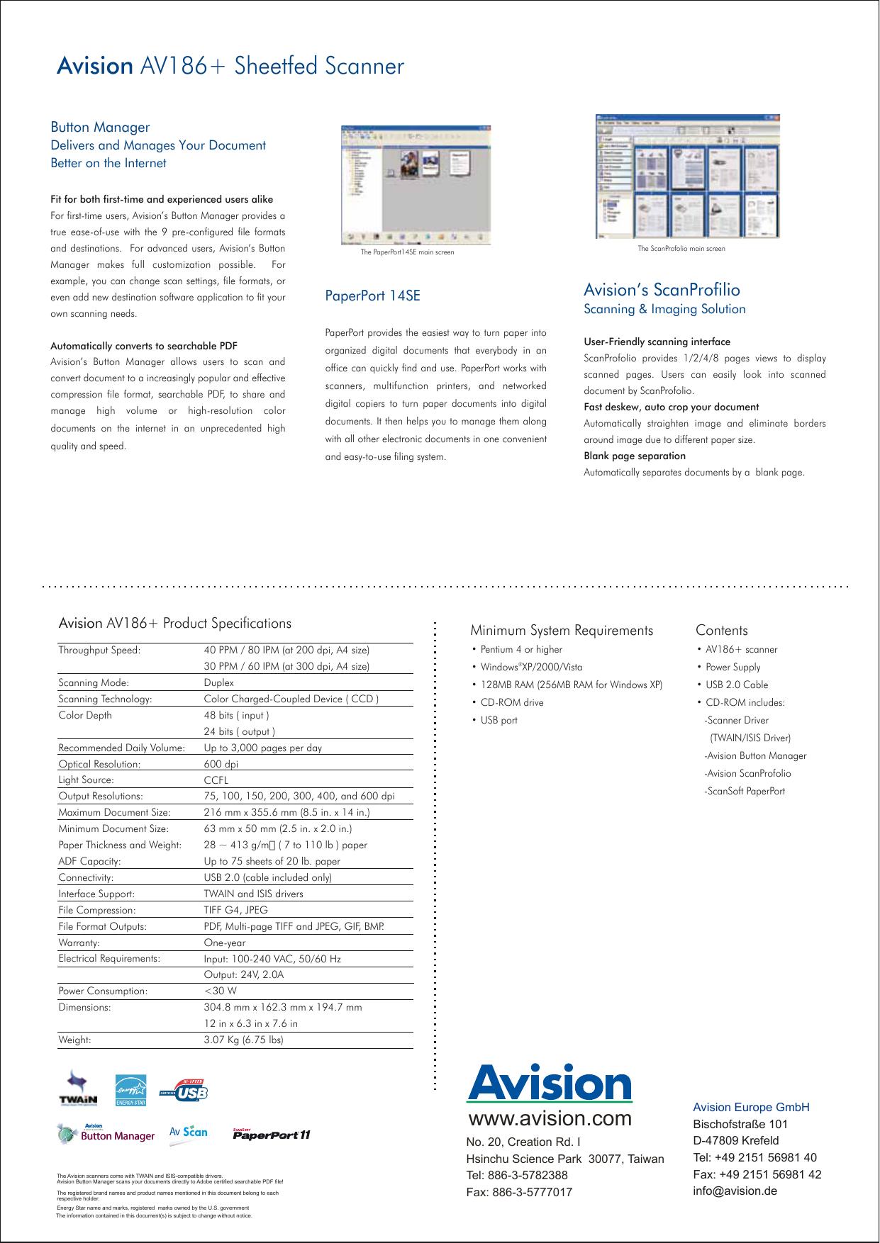 Avision AV186+ Sheetfed Scanner | manualzz com