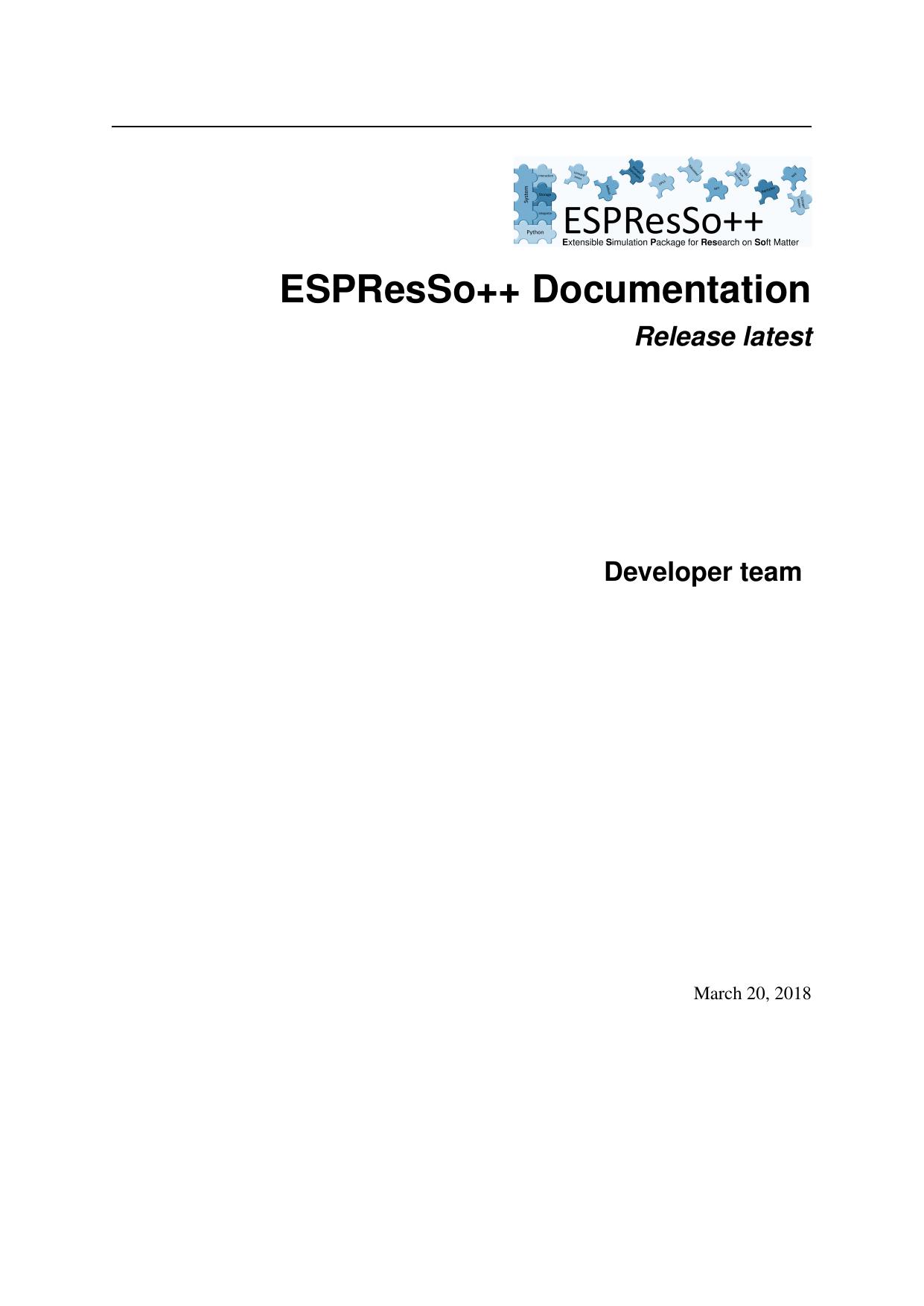 ESPResSo++ Documentation   manualzz com