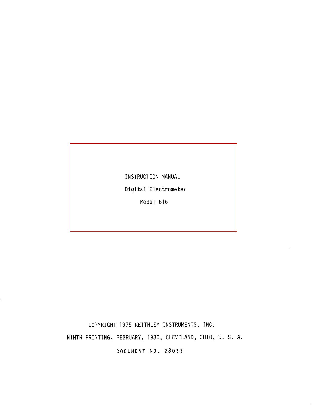 INSTRUCTION MANUAL Digital Electrometer Model | manualzz com
