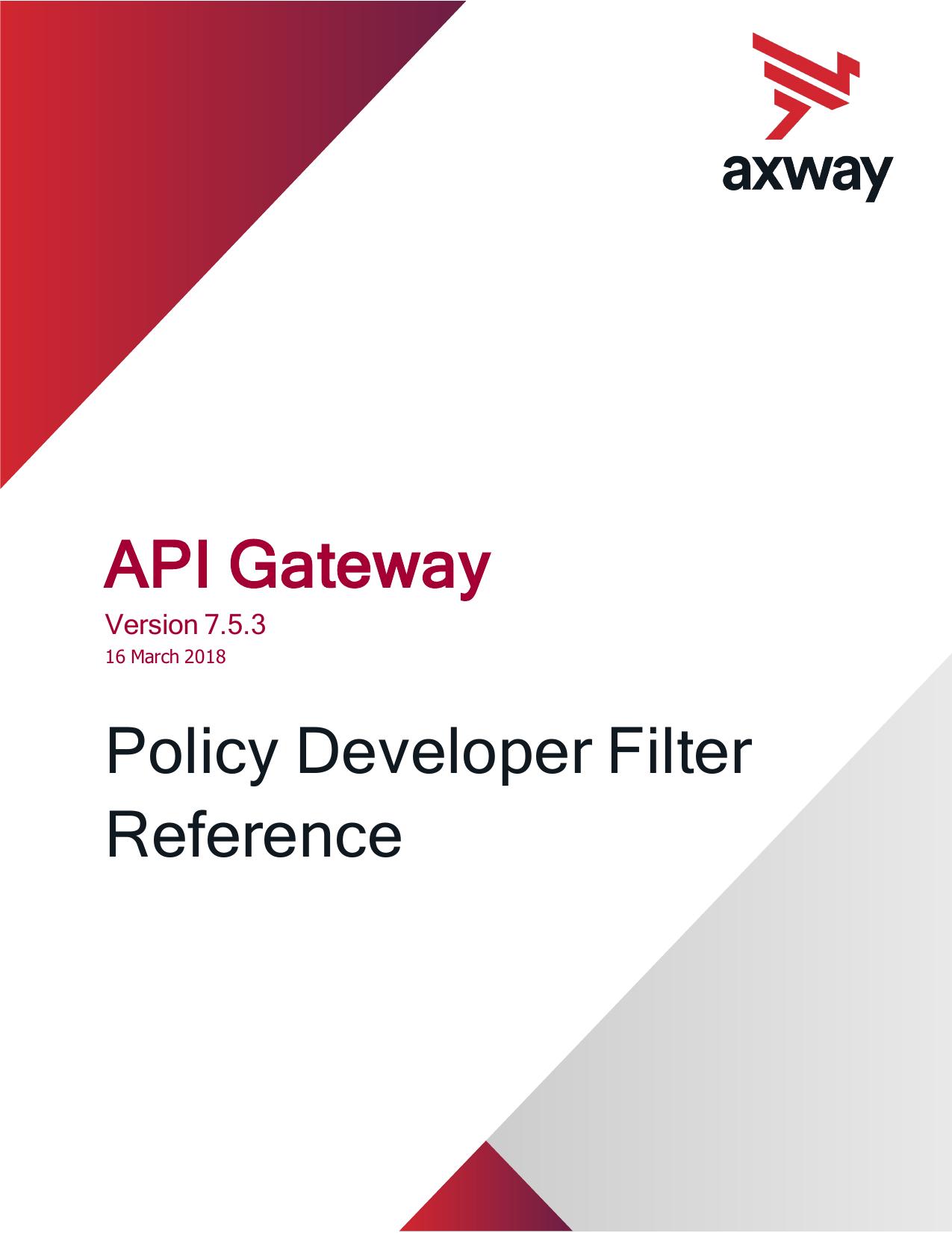 Axway API Gateway Policy Developer Filter Reference | manualzz com
