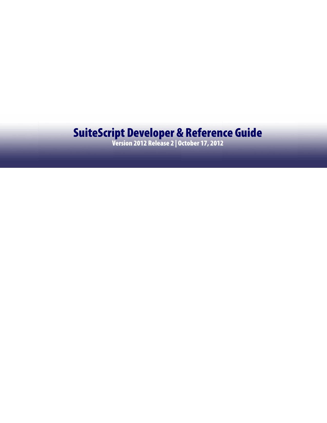 SuiteScript Developer & | manualzz com