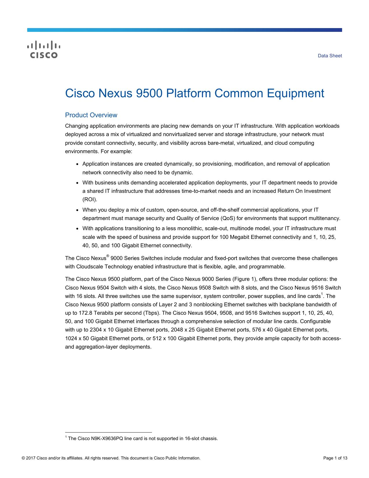 Cisco Nexus 9500 Platform Common Equipment Data Sheet | manualzz com