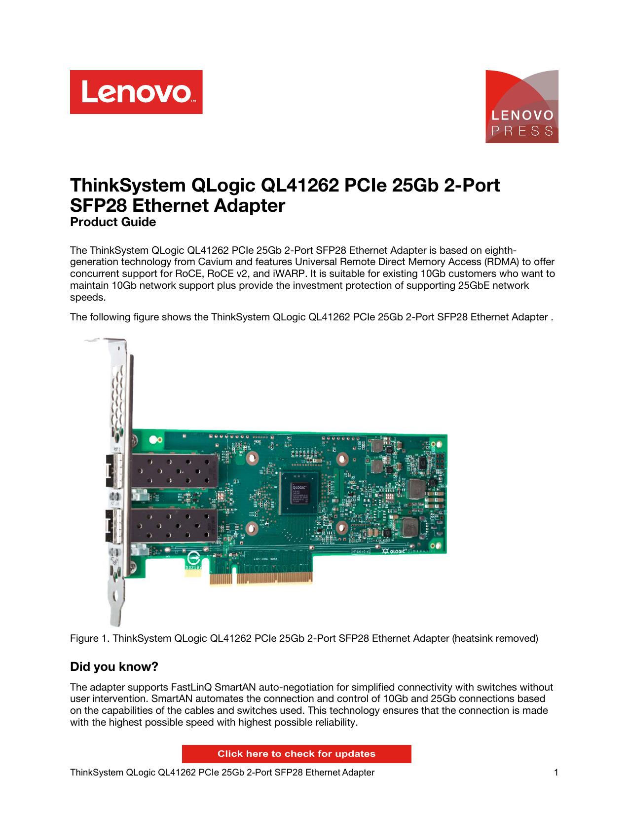 ThinkSystem QLogic QL41262 PCIe 25Gb 2-Port   manualzz com