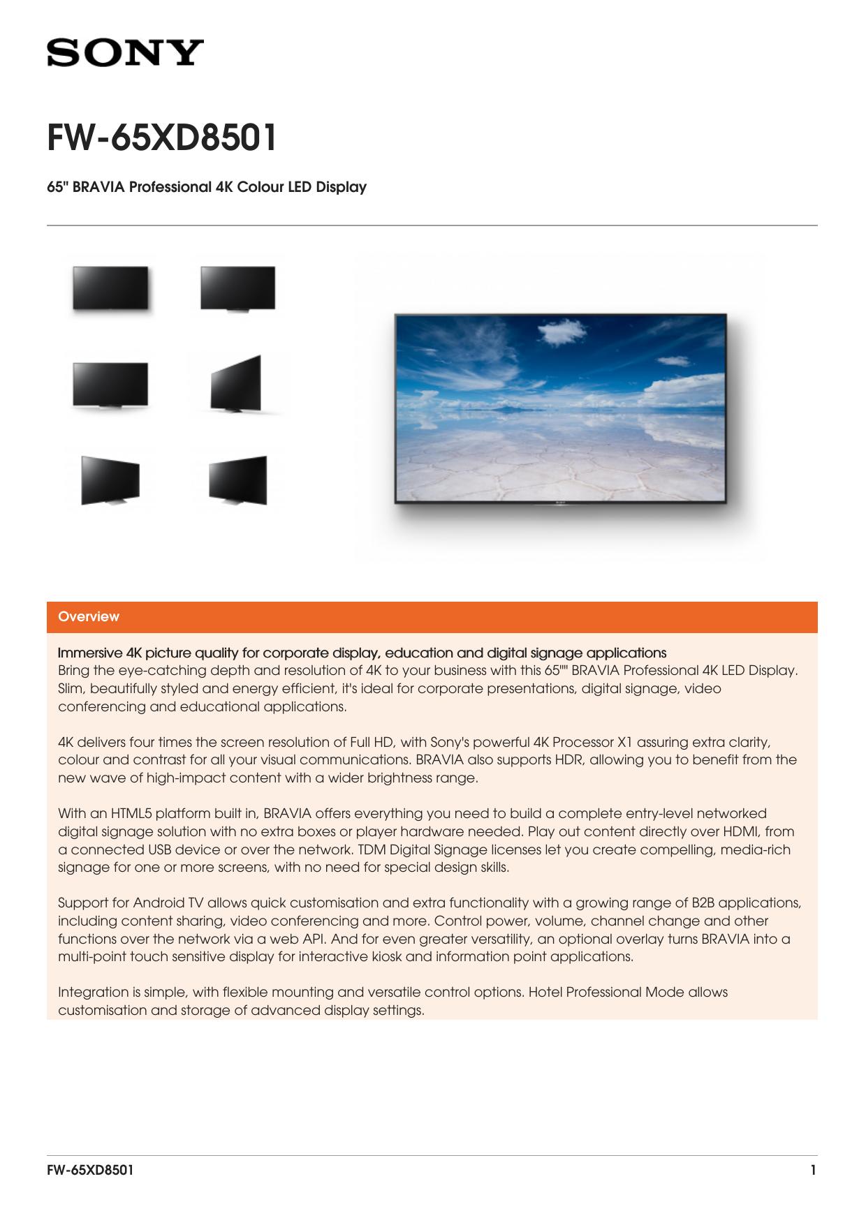 FW-65XD8501 Brochure | manualzz com