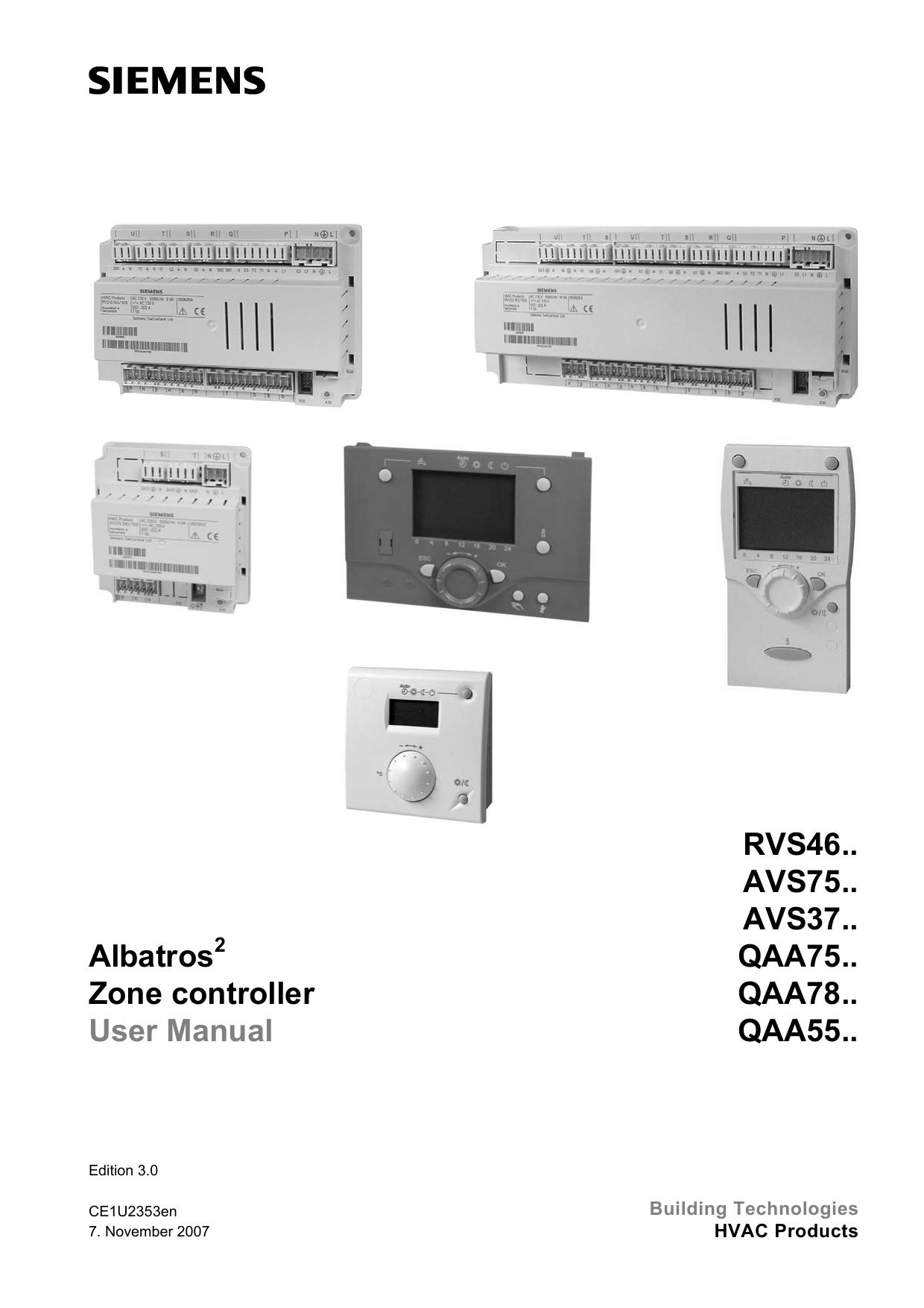 Albatros Zone controller User Manual RVS46.. AVS75.. AVS37 ... on