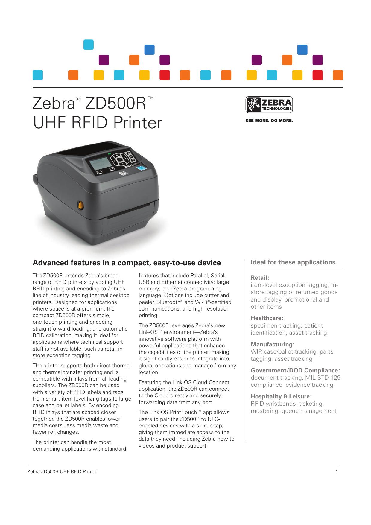 Zebra® ZD500R™ UHF RFID Printer | manualzz com