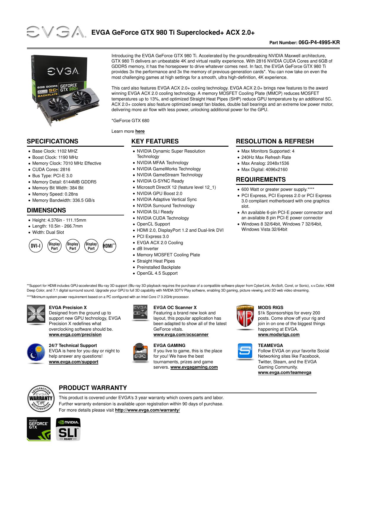 EVGA - Product Specs - EVGA GeForce GTX 980 Ti   manualzz com
