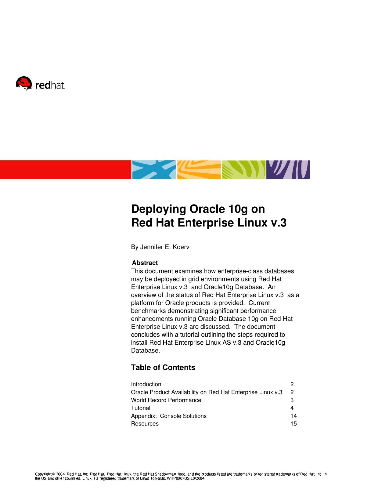Deploying Oracle 10g on Red Hat Enterprise Linux v 3   manualzz com