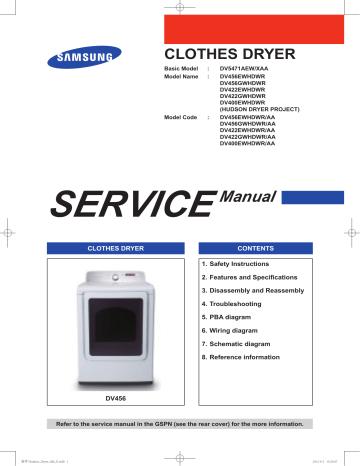 Samsung Dv456gwhdwr Aa Service Manual, Samsung Dryer Wiring Diagram