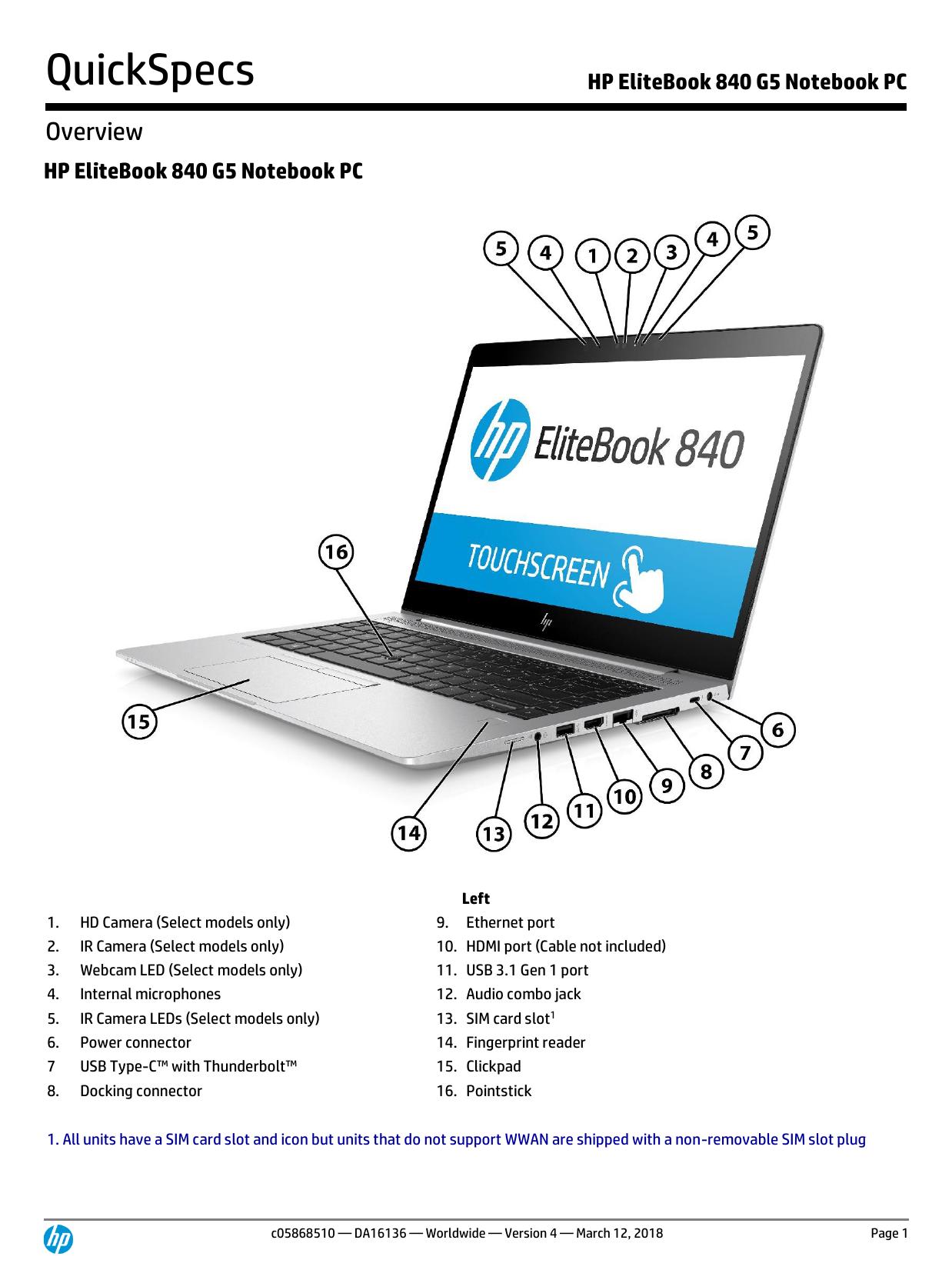 HP EliteBook 840 G5 Notebook PC   manualzz com