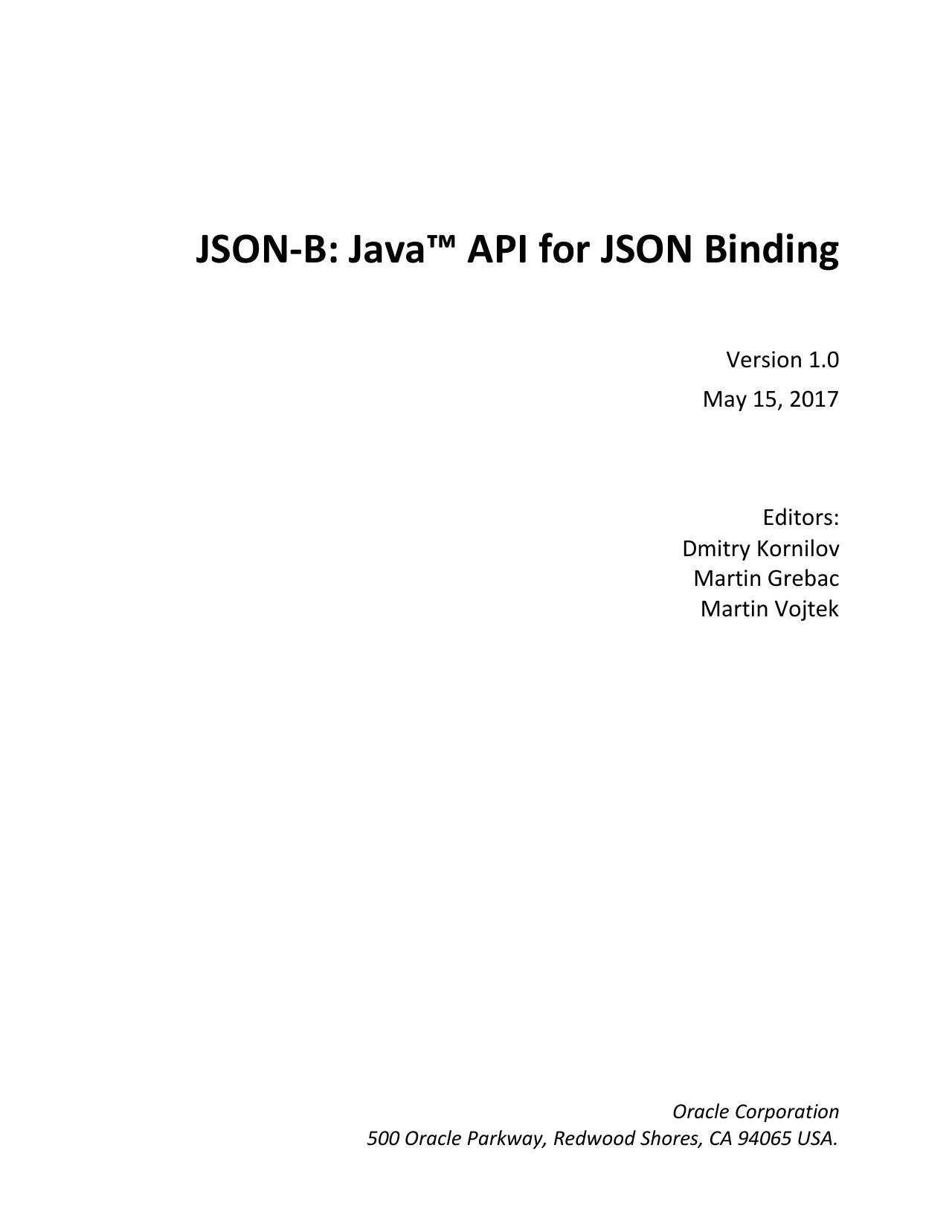 JSON-B: Java™ API for JSON Binding   manualzz com