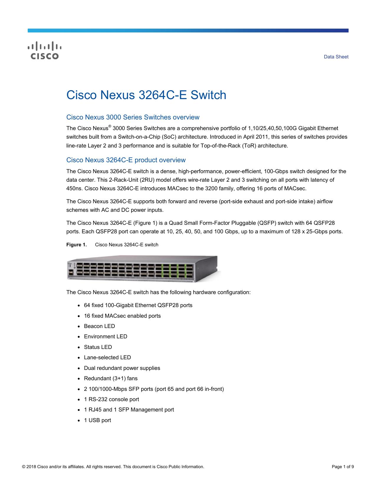 Cisco Nexus 3264C-E Switch Data Sheet | manualzz com