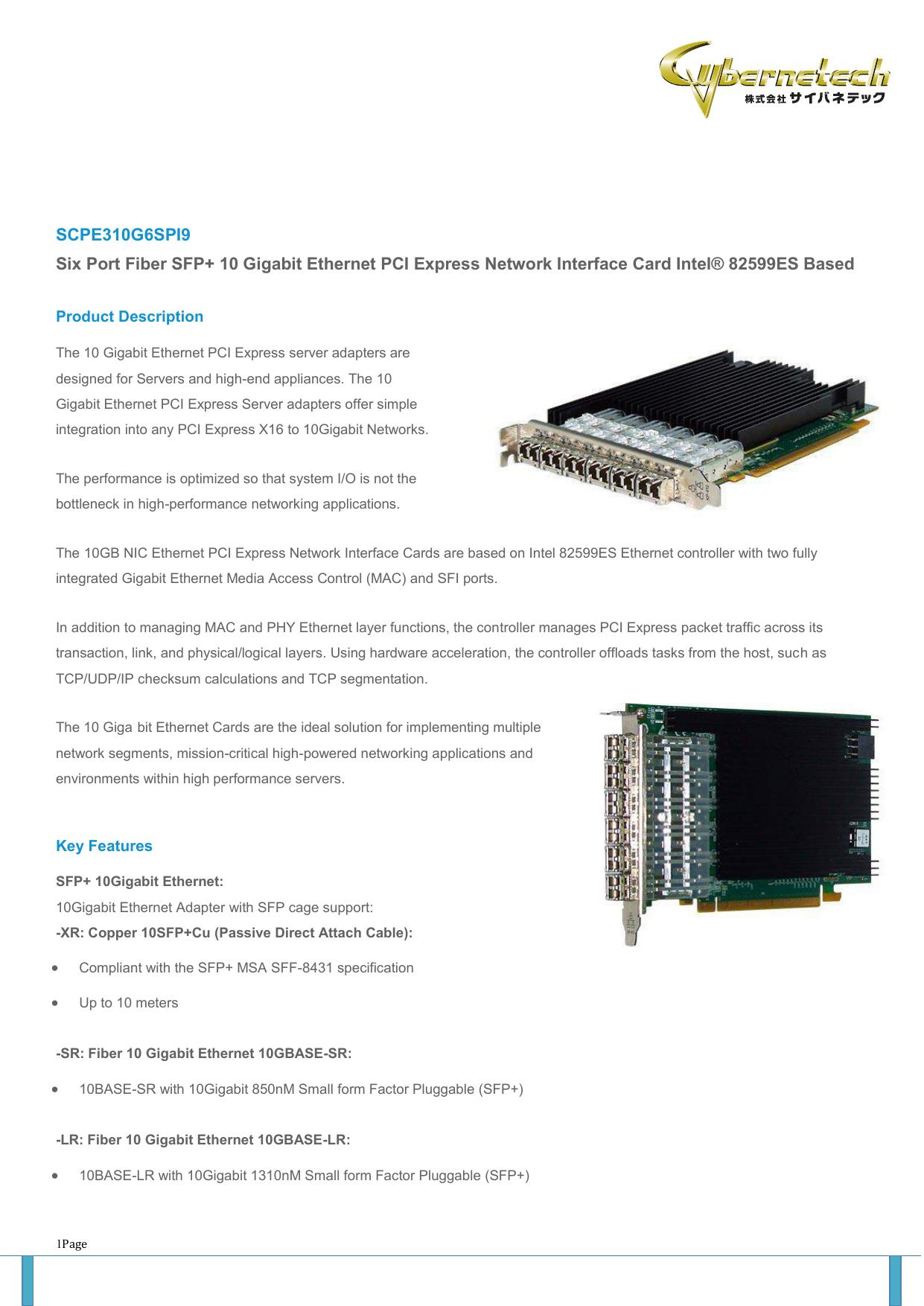SCPE310G6SPI9 Six Port Fiber SFP+ 10 Gigabit Ethernet PCI | manualzz com