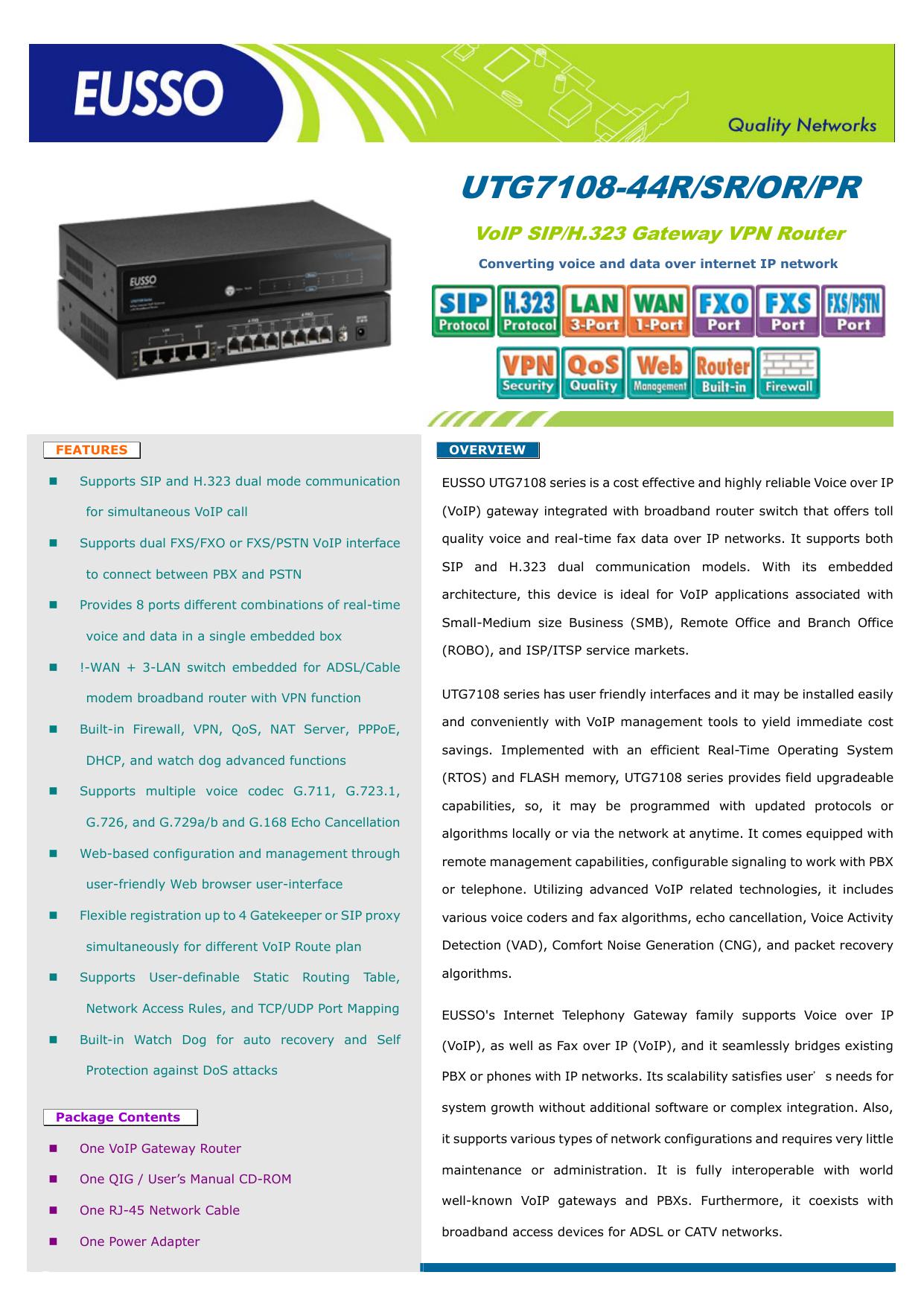 UTG7108-44R/SR/OR/PR - EUSSO Technologies, Inc    manualzz com
