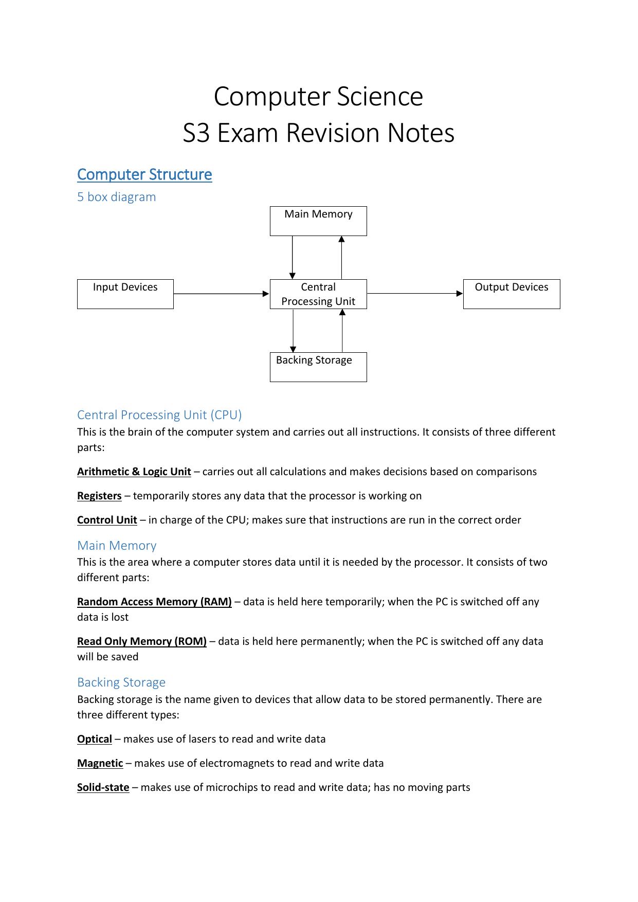 Computer Science S3 Exam Revision Notes | manualzz com