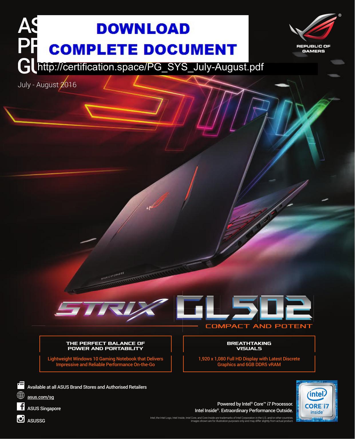 ASUS PRODUCT GUIDE | manualzz com