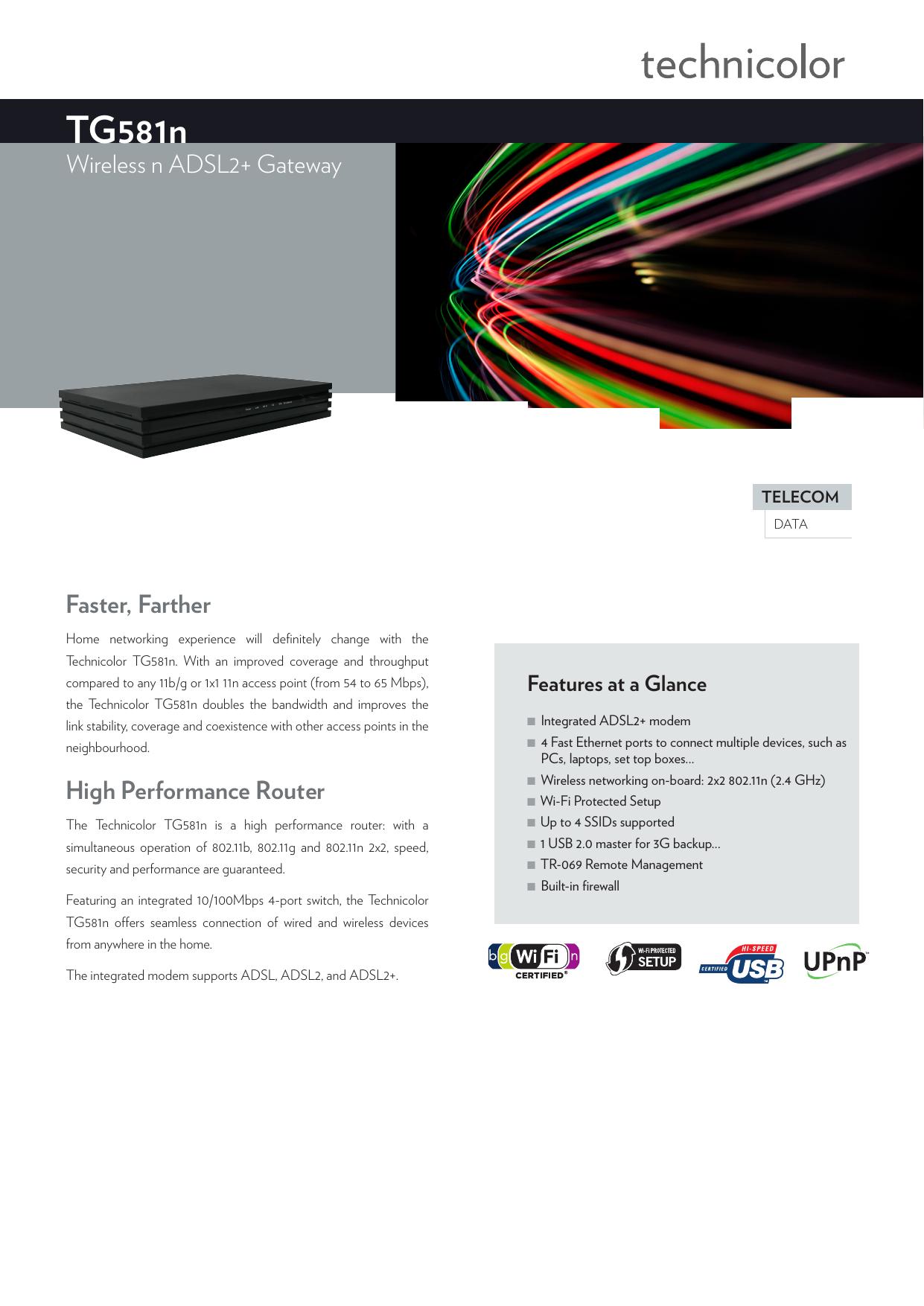 TG581n - Technicolor ADSL Gateway | manualzz com