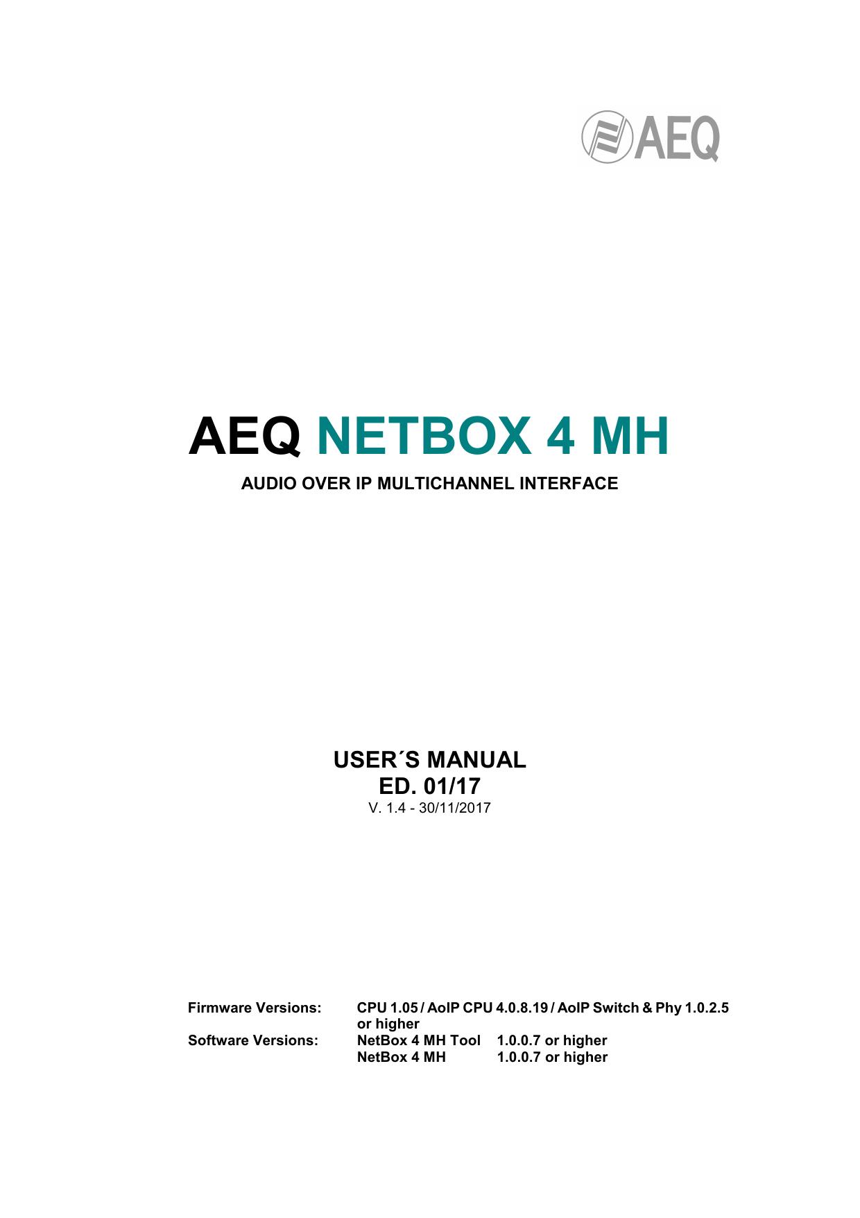 AEQ NETBOX 4 MH Users Manual | manualzz com