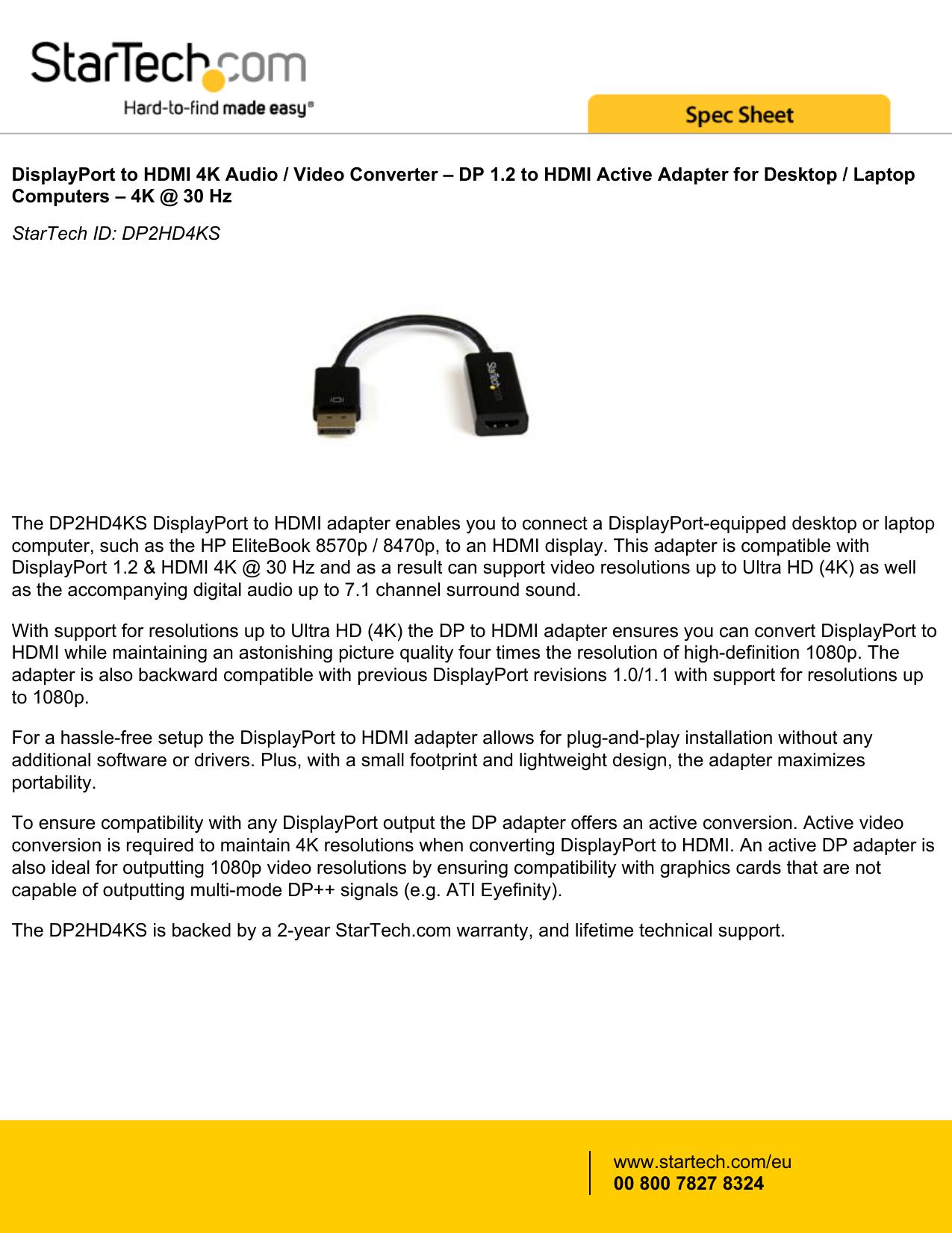 DisplayPort to HDMI 4K Audio / Video Converter | manualzz com