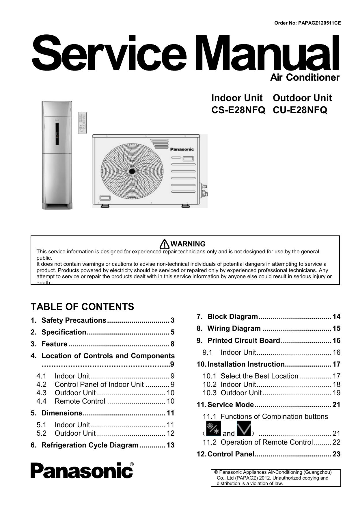Indoor Unit Outdoor Cs E28nfq Cu Wiring Diagrams