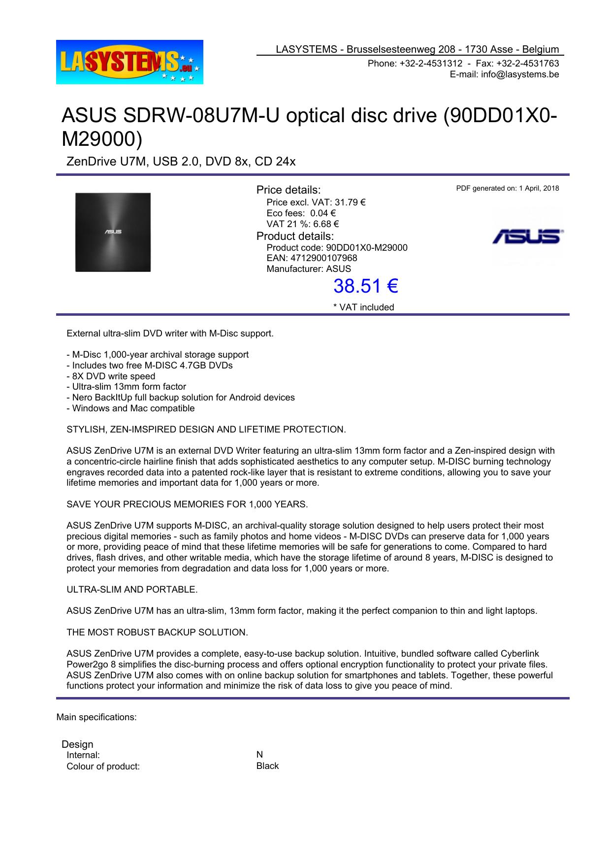 ASUS SDRW-08U7M-U optical disc drive (90DD01X0 | manualzz com