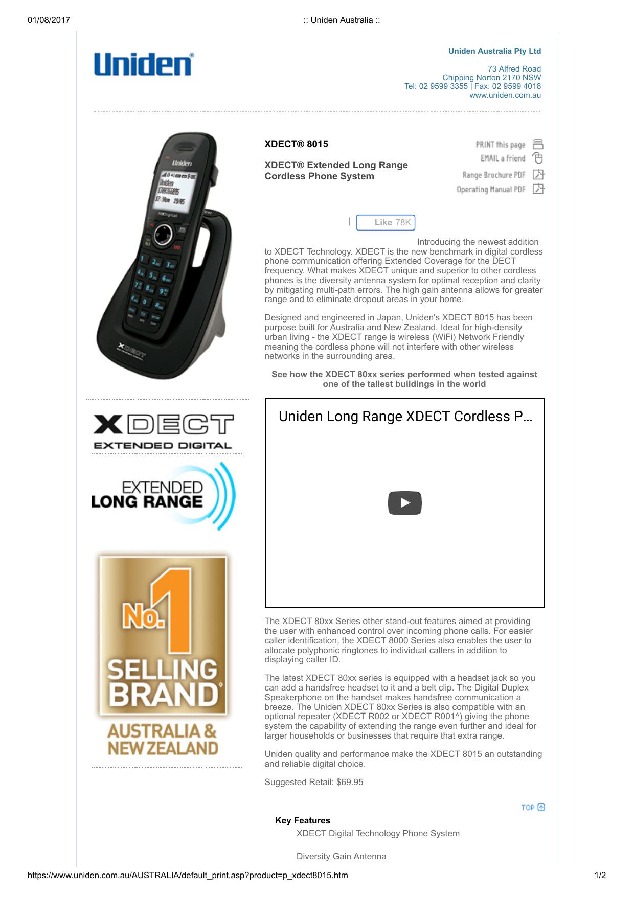 xdect-8015 | manualzz com