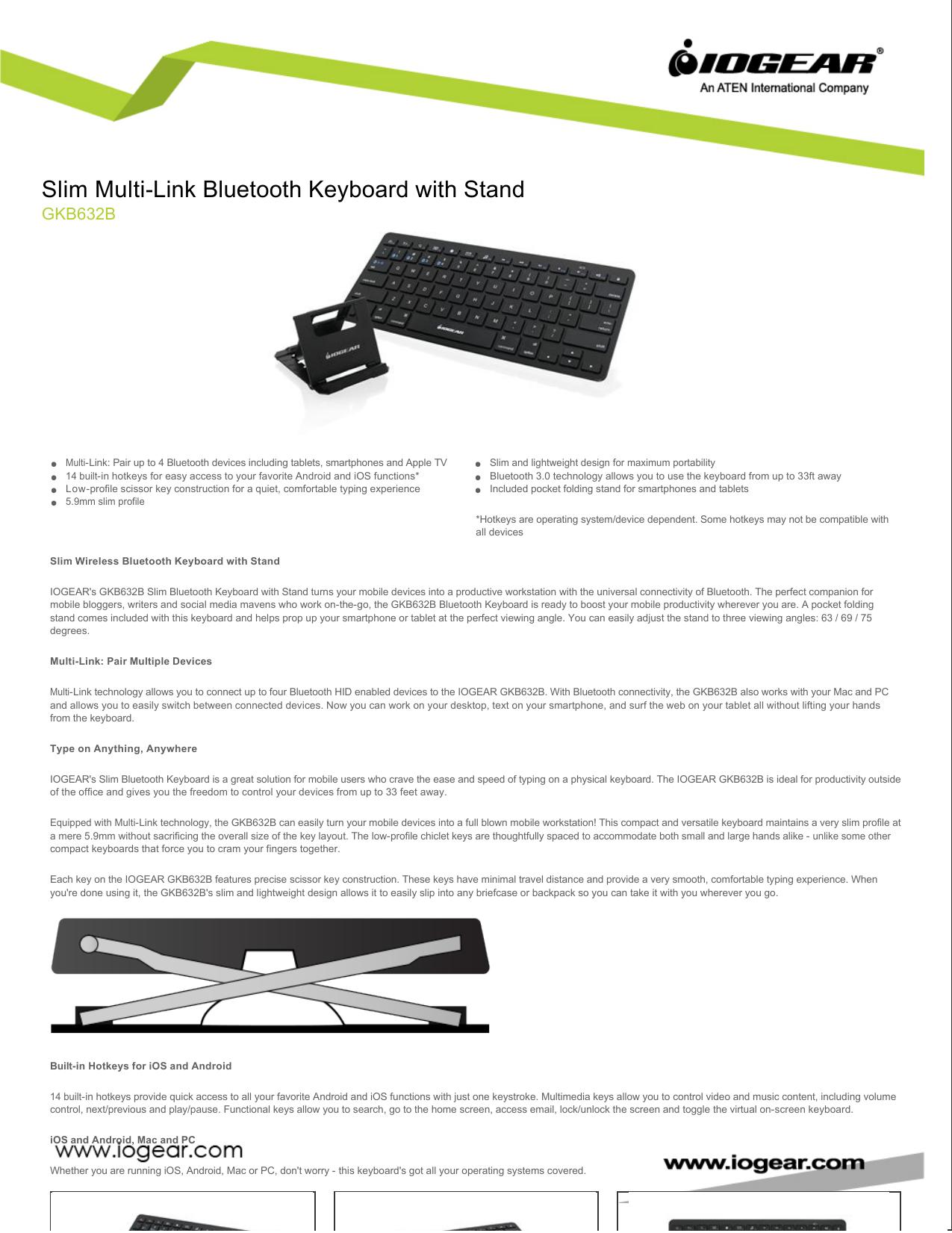 Slim Multi-Link Bluetooth Keyboard with Stand | manualzz com