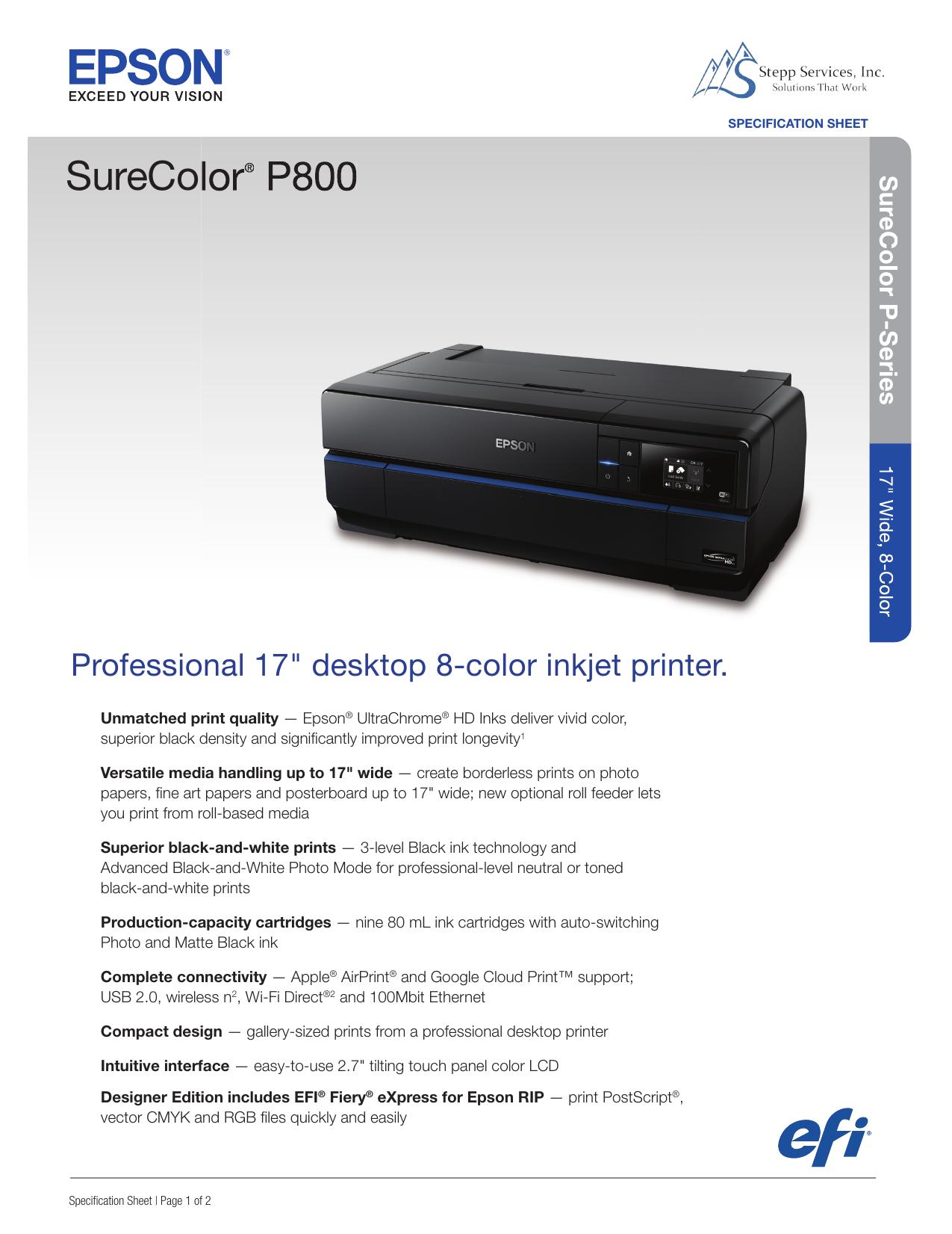 SureColor® P800 - Stepp Services, Inc  | manualzz com