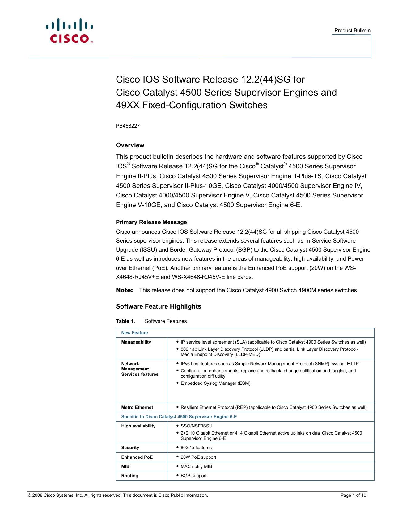 Cisco IOS Software Release 12 2(44)SG for Cisco Catalyst
