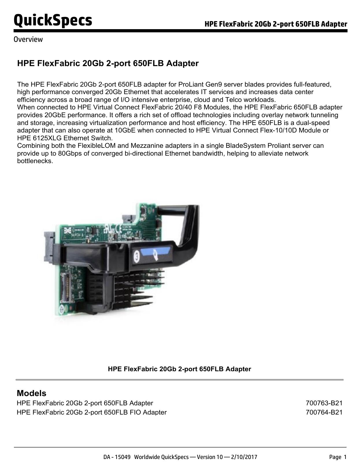 hp flexfabric 20gb 2-port 650flb adapter driver