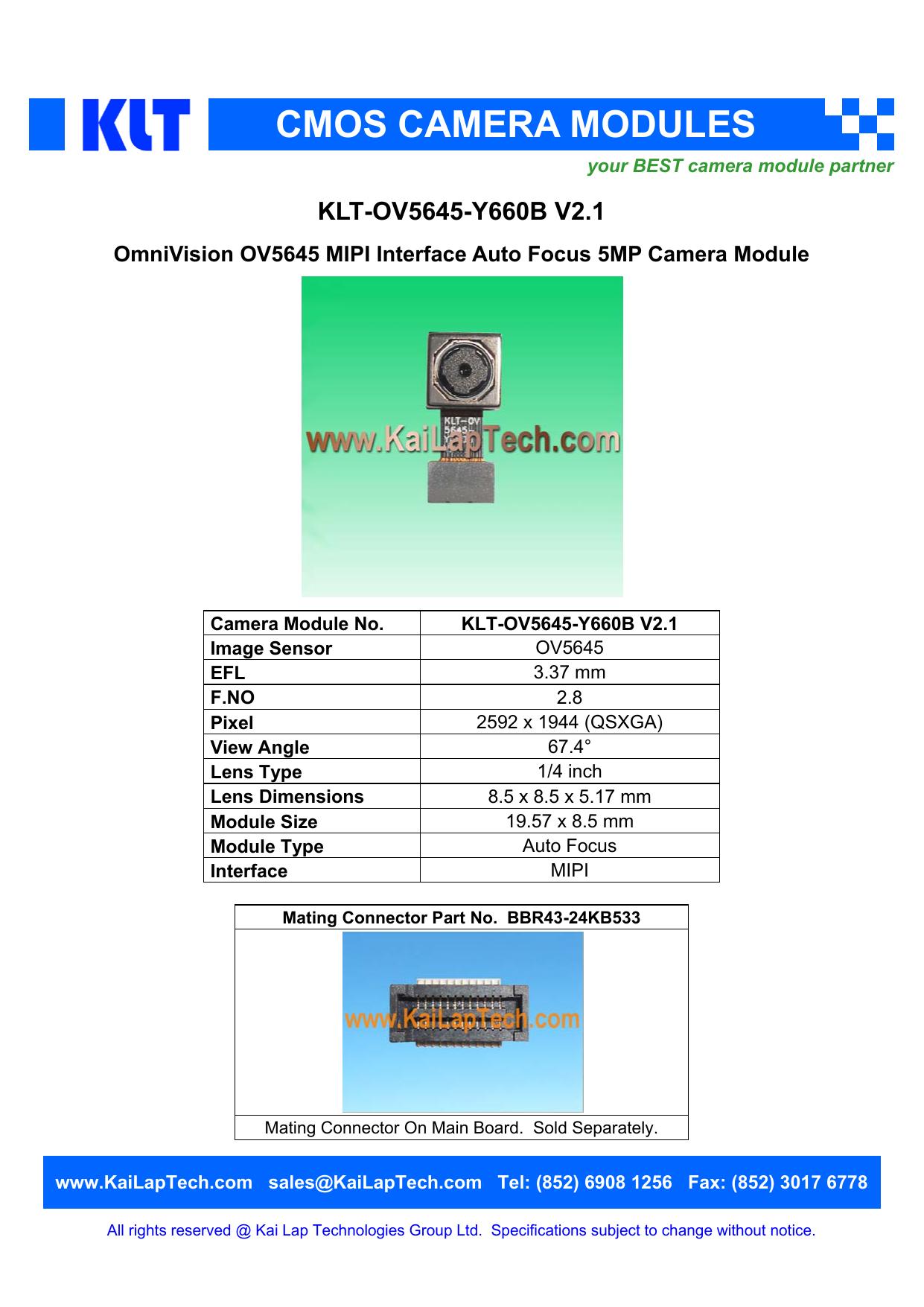 KLT-OV5645-Y660B V2 1 OmniVision OV5645 MIPI Interface Auto
