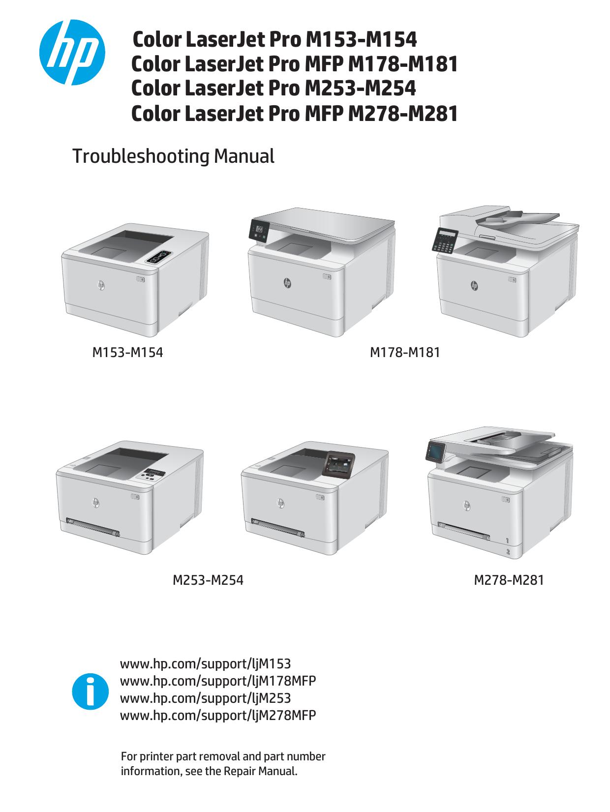 Hp Color Laserjet Pro M153 M154 M253 M254 Mfp M178 Manualzz