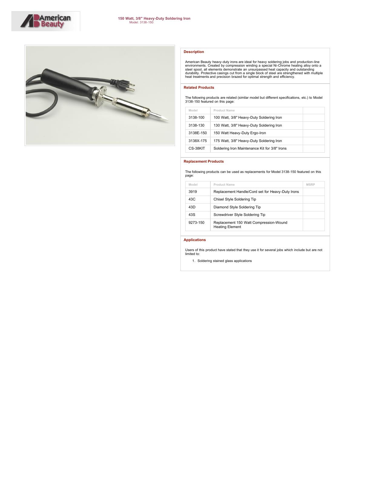 100 Watt 3//8 Diamond Tip American Beauty 3138E-100 Heavy-Duty Ergo-Iron