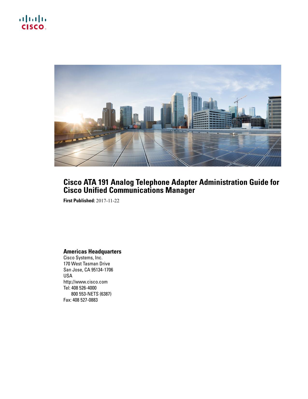 Cisco ATA 191 Analog Telephone Adapter Administration Guide