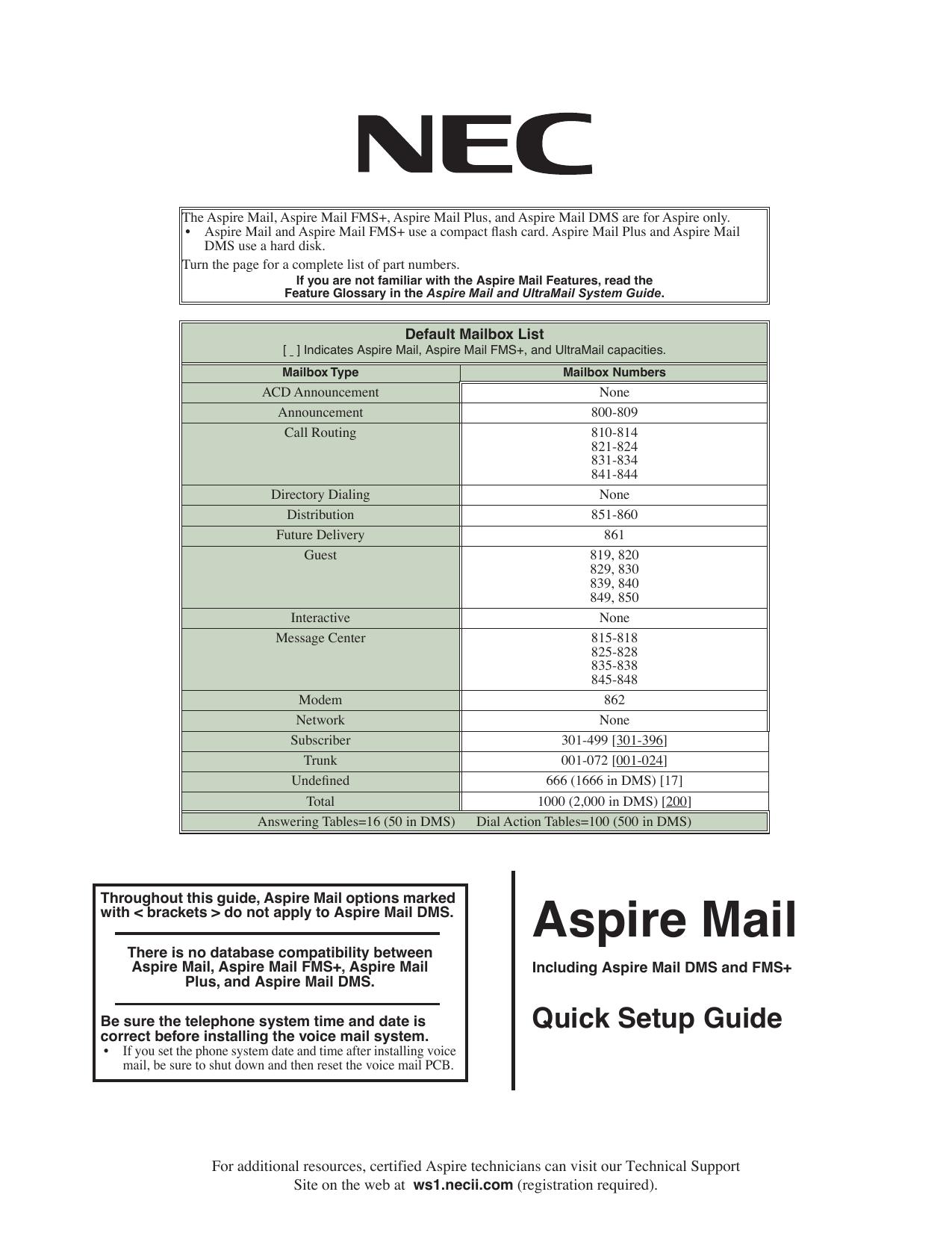 Aspire Mail Quick Setup Guide | manualzz com