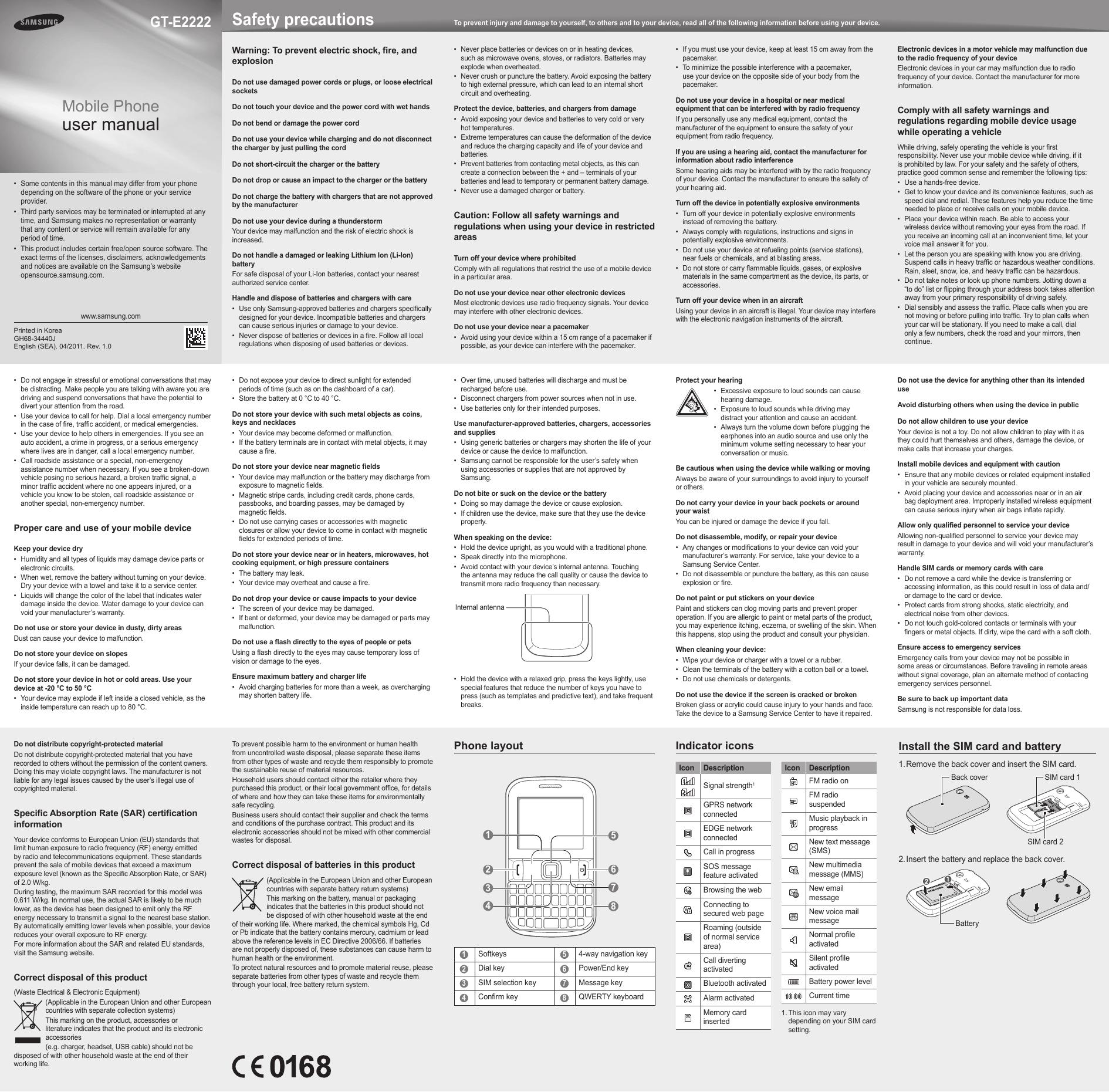 Samsung GT-E2222 User Manual   manualzz com