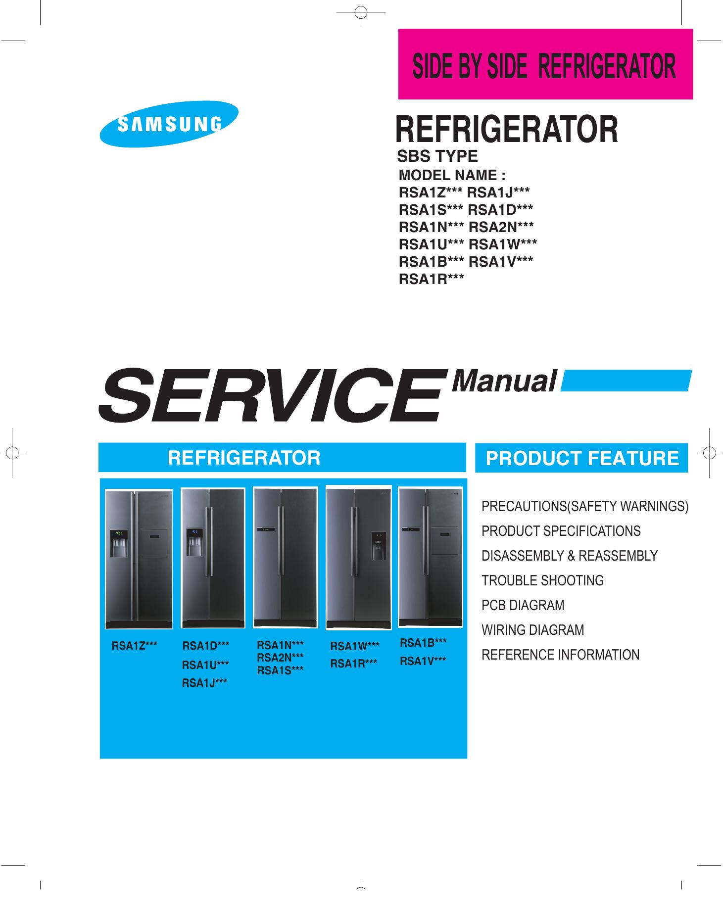 Samsung Rsa1ztvg Benutzerhandbuch Electrical Wire Diagram Freezer Europe