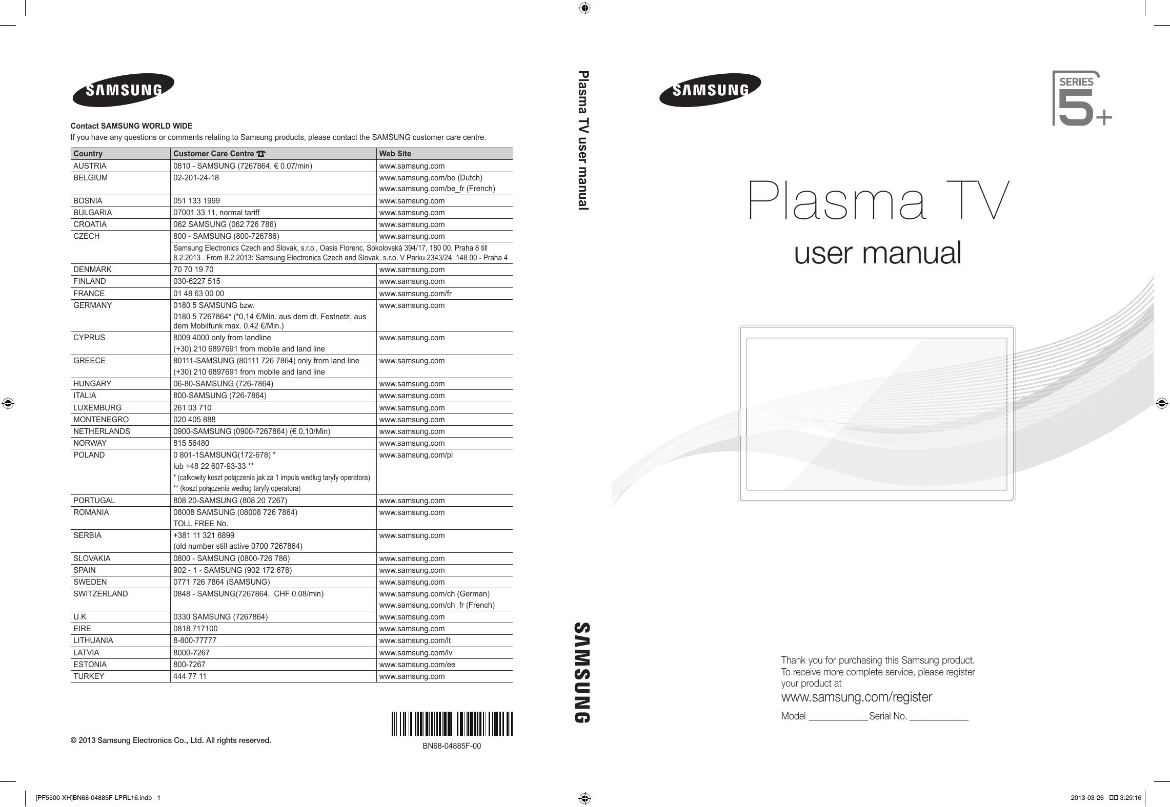 9a30d82a2 Samsung PS60F5500AW Quick start guide | manualzz.com