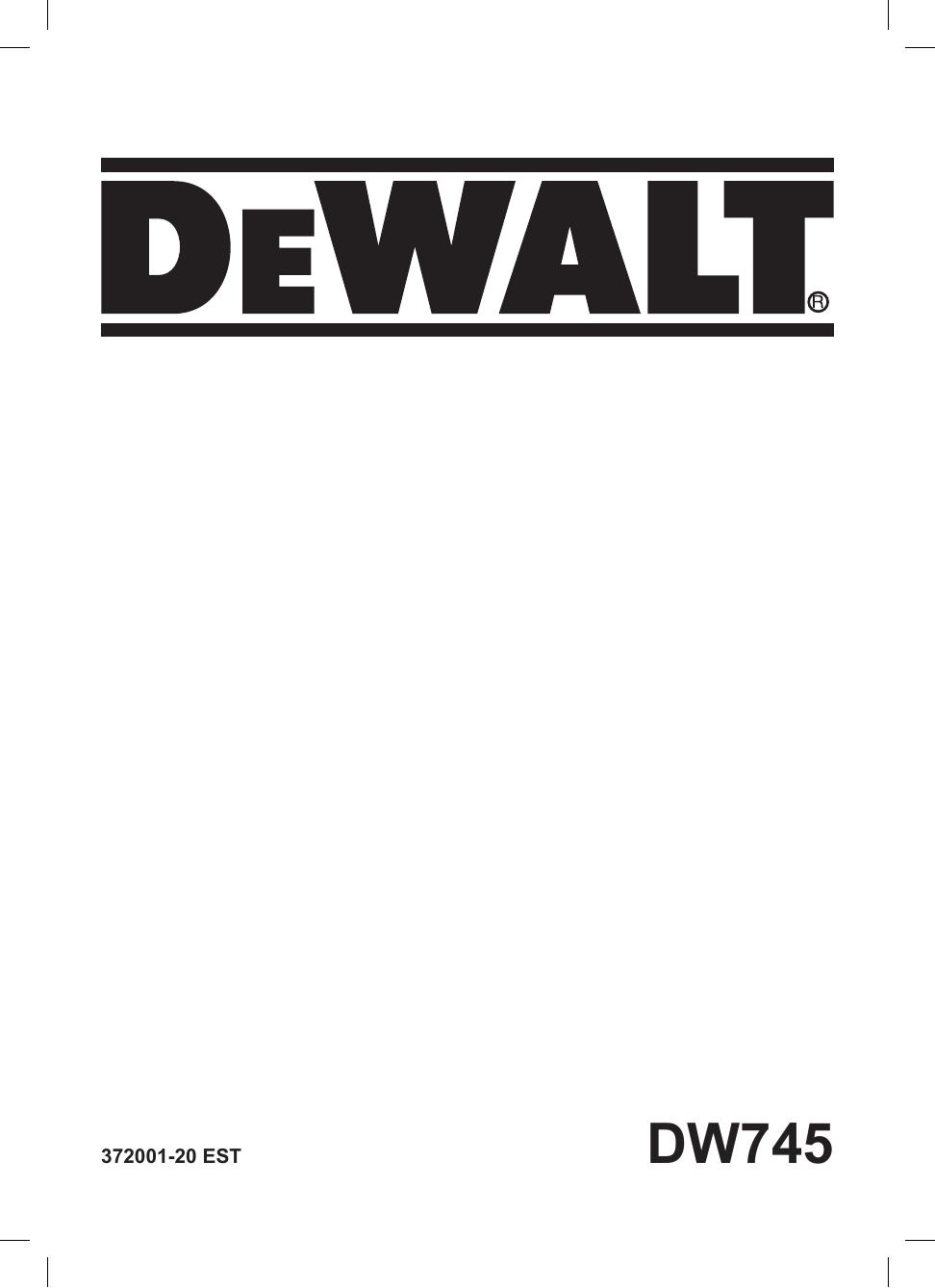Dewalt Dw745 Table Saw Type 4 Instruction Manual Manual Guide