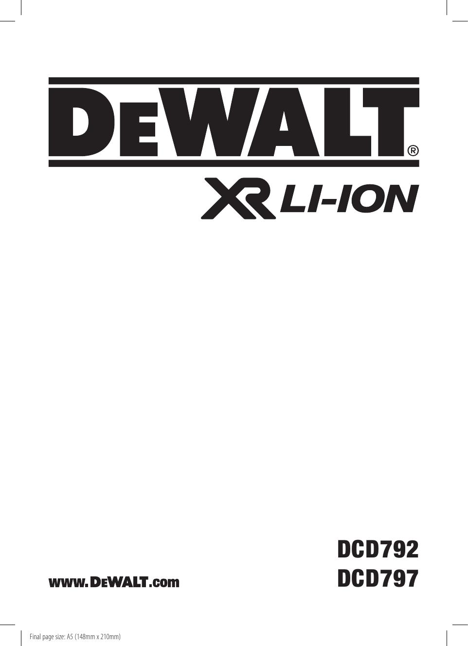 8d522674 DeWalt DCD797 C'LESS DRILL/DRIVER instruction manual | manualzz.com