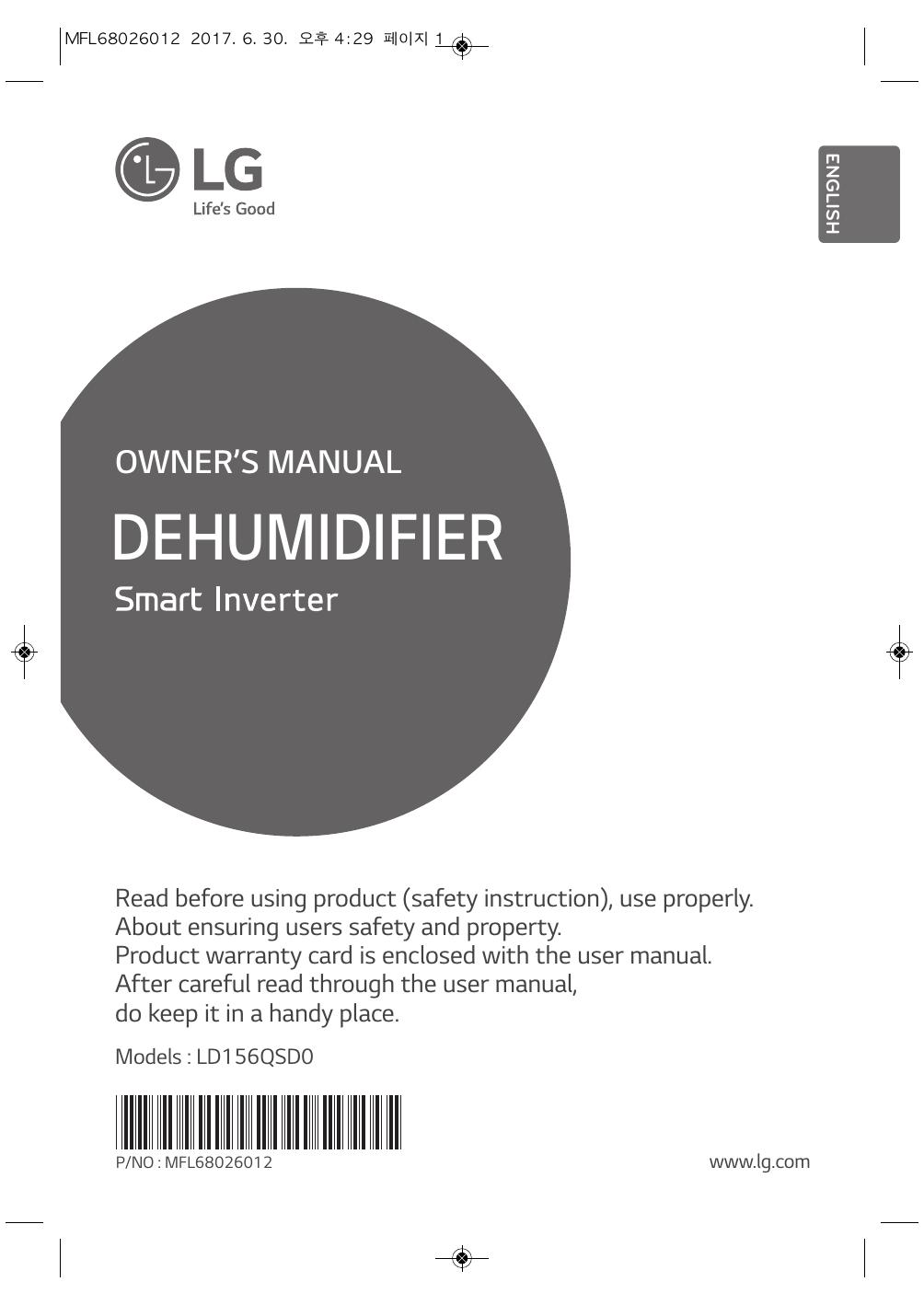 lg dehumidifier owner manual