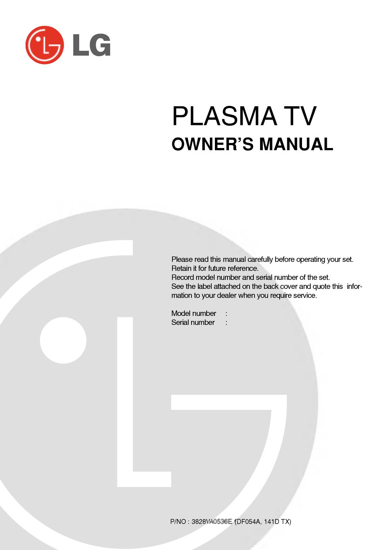 Lg 42px4dv Owner S Manual Manualzz