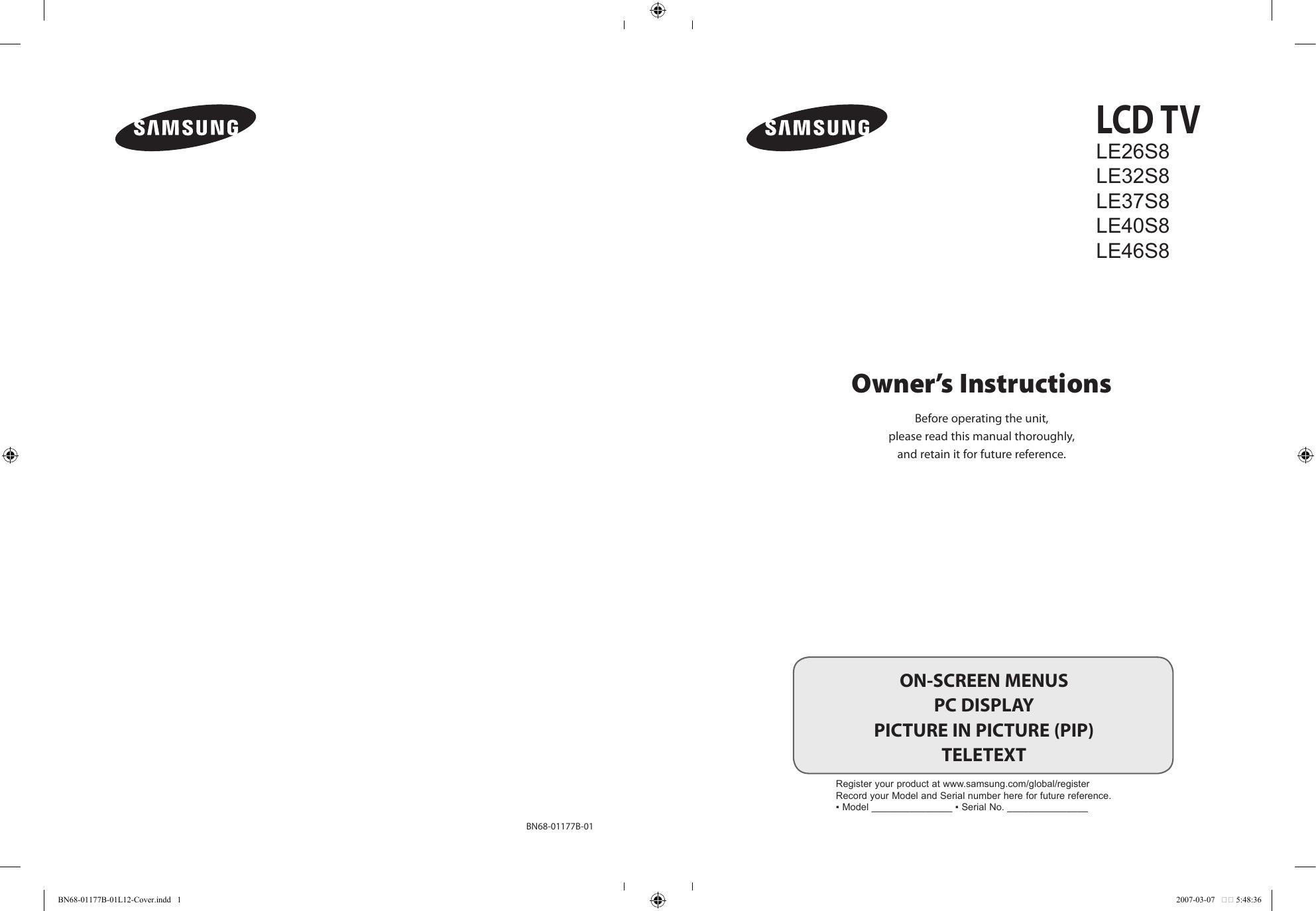 Samsung Le37s81b User Guide Manualzzcom