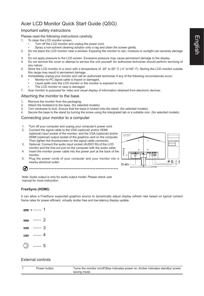Acer VG270 Quick Start Guide | manualzz com