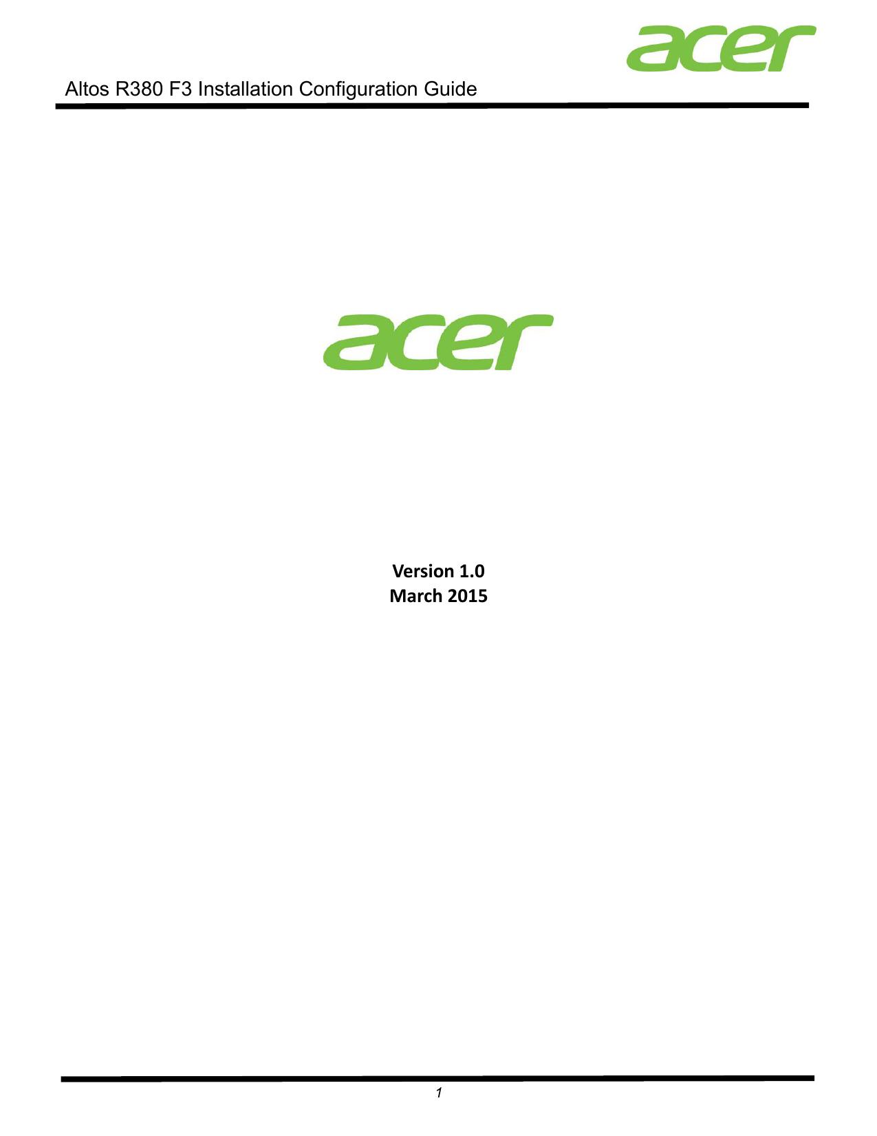 Acer Altos R380 F3 Installation & Configuration Guide