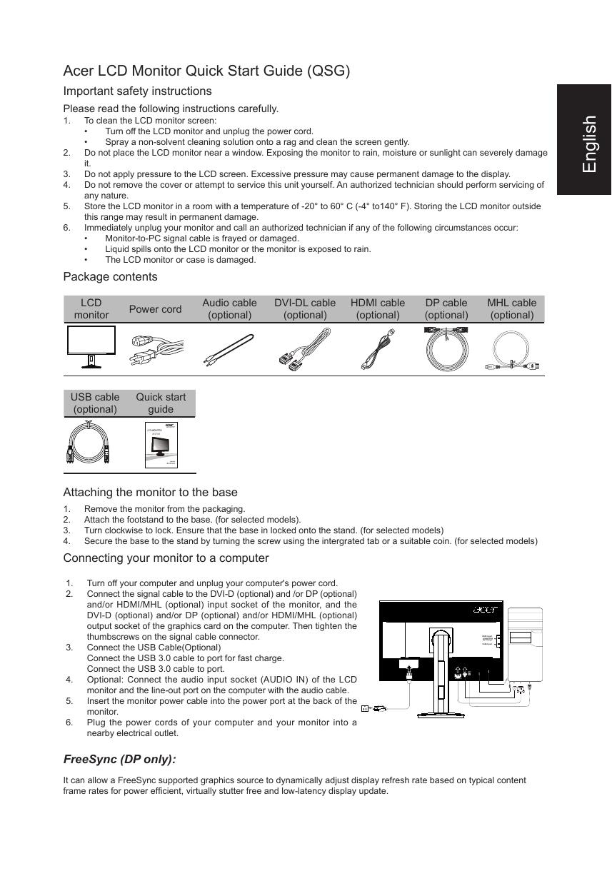 Acer XF270H Quick Start Guide | manualzz com