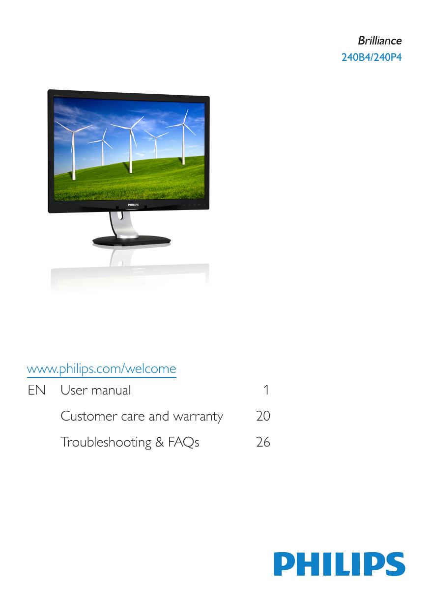 Philips Brilliance LCD monitor with PowerSensor 240B4QPYEB