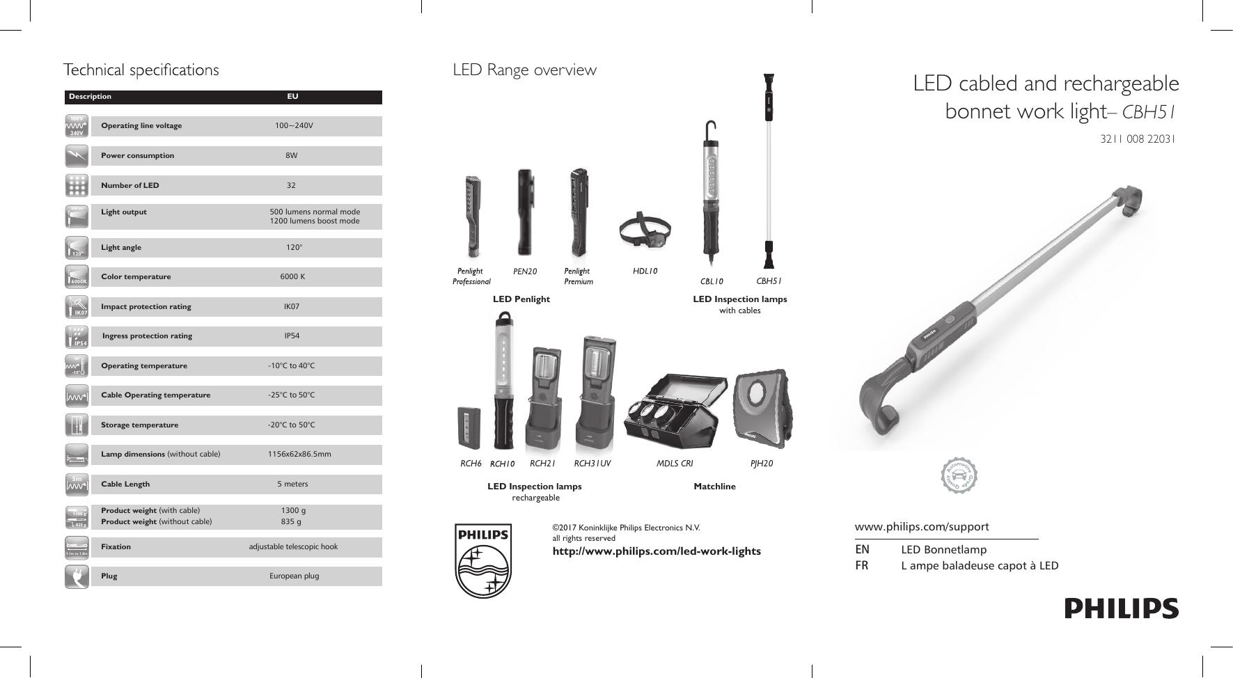 LED Professional Work Light CBH51 Hybrid Aluminium Bonnet Lamp PHILIPS LPL45X1