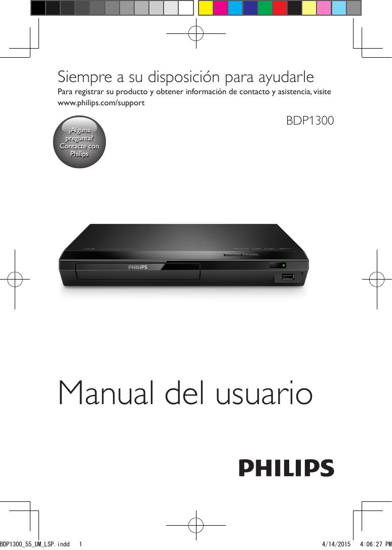 Philips Reproductor de Blu-ray y DVD BDP1300/55 Manual del usuario